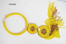 African beaded necklace. Tribal yellow fringe necklace. African tribal jewelry