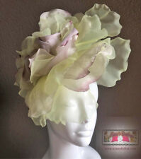 ROYAL ASCOT RACES Fascinator Hat Purple Large Flower Silk Velvet KENTUCKY DERBY