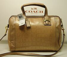 NWT COACH CROCODILE EMBOSSED LEATHER SATCHEL/HANDBAG REMOVABLE STRAP MSRP $598