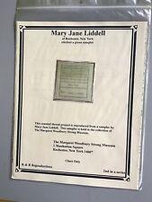 "CROSS STITCH SAMPLER CHART. ""Mary Jane Liddell""  Reproduction"