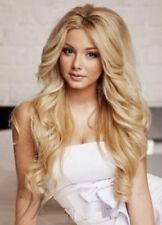 Fashion Long Golden Blonde Wavy Curly Women's Lady's Hair Wig Full Wigs +Wig Cap