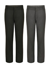 BOYS SCHOOL TROUSERS FLAT FRONT EX UK STORE 3-16 YEARS BLACK CHARCOAL NEW