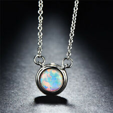 Women's Round White/Blue Fire Opal Rose Gold /925 Silver Necklace Chain Jewelry
