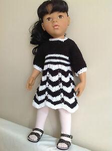 "Dolls clothes knitting  pattern. 18"" and  19"" doll. Chevron dress set.KNM67"