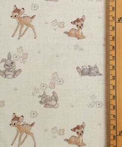 Bambi fabric uk 100% cotton material Walt Disney Cartoon classic deer florals