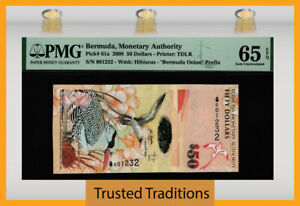 TT PK 61a 2009 BERMUDA MONETARY AUTHORITY 50 DOLLARS PMG 65 EPQ GEM UNCIRCULATED