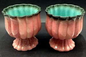 """( 2)  Rare MCM Hull Pottery Pink,Turquoise,Scalloped,Pedestal Planter 5.75"""""""