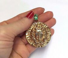 Fabulous! Large 14K Yellow Gold Diamond and Emerald Medusa Medallion Pendant