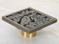 "Antique Brass Carved Floor Drain 4"" Square Washer Shower Waste Drainer shr052"