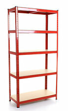Metal Shelving Industrial Boltless Racking Garage Heavy Duty Shelf Bay 5 Tier 1x Red Unit