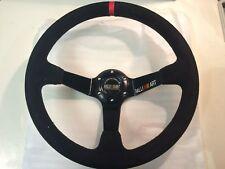 Ralliart Style 350mm Suede Deep Steering Wheel Single Red strip Evo 5 6 7 8 9