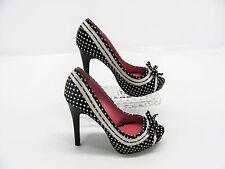 NOT RATED Women Black White Polka Dot Stiletto Heels Baby Doll Pumps Shoe 6M #X5