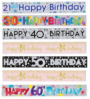 Age Banners 9ft Birthday Colourful 21 30 40 50 60 Decoration Adult Party