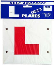 Learner Driver L PLATE - STICK ON OR TIE ON - Pair- SELF ADHESIVE- SALP
