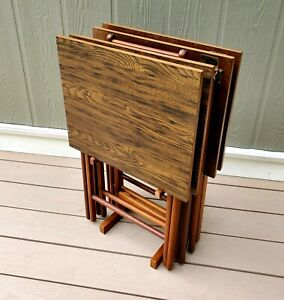 4 Vintage Folding TV TRAYS MCM Scheibe With Stand Mid Century Modern Wood Retro