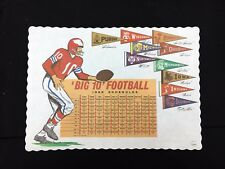 Vintage Big 10 Ten Football 1968 Schedule Placemat with Pennants - MINT Unused