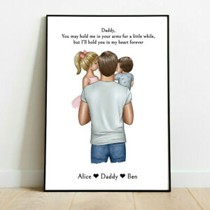 Personalised Father & Son/ Daughter Picture Print Grandad, Uncle Keepsake Gift
