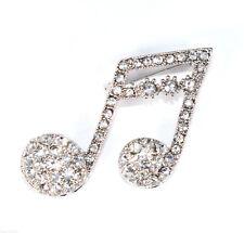 Rhinestone Crystal Like Divine Music Note Brooch Pin Br50304