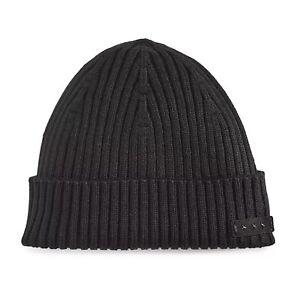 John Varvatos Star USA Men's Cuffed Ribbed Beanie Wool Cap Black