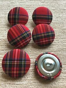 Red Mini Tartan 45L/28mm Cotton Fabric Covered Buttons Craft Sewing Upholstery