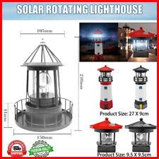 Lighthouse Solar LED Light Outdoor Garden Yard Rotating Beam Sensor Beacon Lamp