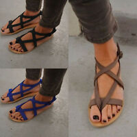 Women Bohemia Flats Open Toe Gladiator Sandals Summer Beach Ankle Strap Shoes US
