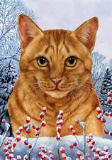 Winter House Flag - Orange Tabby Cat 15955