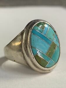vtg 925 sterling silver NAVAJO Turquoise Stone Ring- size 8