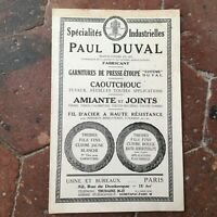 catalogue commercial PAUL DUVAL fabricant presse-étoupe industrielles tarif 1933