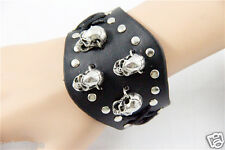 New Cosplay Punk Rock Gothic Style Leather Bracelet w/4 Skulls Wristband Black