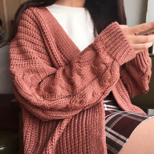 Korean Women Chunky Knitted Oversized Cardigan Outwear Coat Casual Baggy Sweater