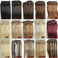"NEW Clip In Remy Human Hair Extensions Any Colors Full Head Set 14""18""20""22"""