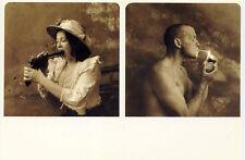 Man + Woman•Mouth•Gun•Cigarette•Photo Jan Saudek POSTCARD