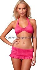 NWT JUICY COUTURE swimsuit bikini smocked skirted P XS dragon fruit pink