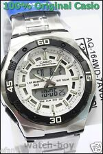 AQ-164WD-7A White Casio Men's Watch Stopwatch Stainless Steel Chronograph Day