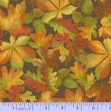 Marcus Fabric - Songbook Harvest Fall Autumn Leaf Toss Taupe Brown - Cotton YARD