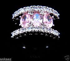 Oval 3 Stone Rose AAA Grade Cubic Zircon CZ Fashion Cocktail Wedding Ring 7X149