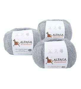 100% Alpaca Yarn Wool Set of 3 Skeins Fingering Lace Worsted Weight Soft Warm