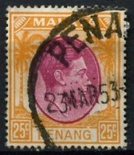 Malaya Penang 1949 SG#16, 25c Purple And Orange KGVI Used #D28723