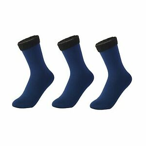 3 Pairs Women Winter Crew Socks Casual Solid Color Breathable Warm Thermal Feet