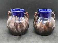 Czech Pottery Vase pair Celebrate drip glaze MCM