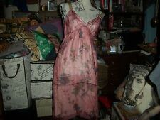 Whimsical  Romantic Dusty Pink Floral Print Silk Dress Size S