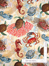 Aquarian Sea Ocean Fish Turtle Seahorse Cotton Fabric CP63332 Springs - Yard