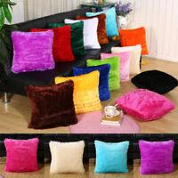 Office Home Car Decorative Plush Square Pillow Case Fur Fluffy Cushion Cover