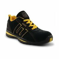 MENS SAFETY TRAINERS WORK BOOTS LEATHER GROUNDWORK GR86 STEEL TOE CAP ANTI SLIP