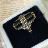Antique Art Deco Vintage Jewelry Sterling Silver Ring Jet Black Onyx Marcasites