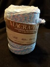 Vtg Macra Tex Macrame Yarn 450 Ft (150 yards) 3-4mm pink blue and white New