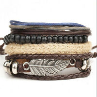 Men's Stainless Steel Cuff Bangle Braided Leather Bracelet Wristband Wholesale