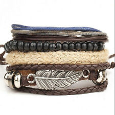 4pcs/set Fashion Unisex Women/Men Surfer Multilayer Leather Wrap Cuff Bracelet