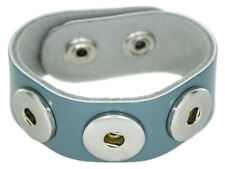 Chunk Leder Armband hell blau 3 Druckknöpfe Click Button Kette Ring Snap Wechsel